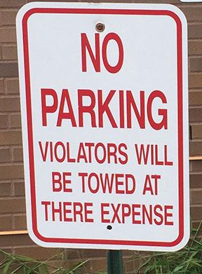 No parking violators will be towed at there expense