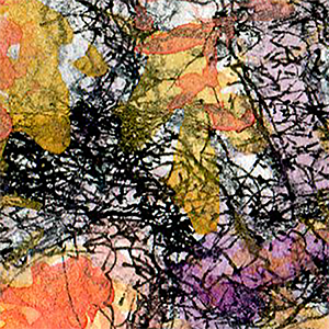 Close-up of pen lines in painting.