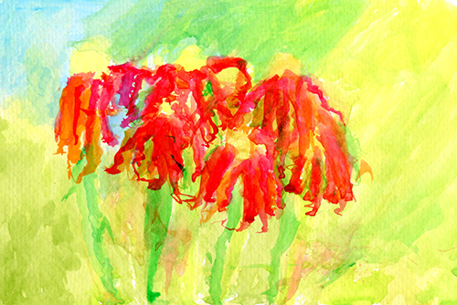 Painting of red wilted flowers.
